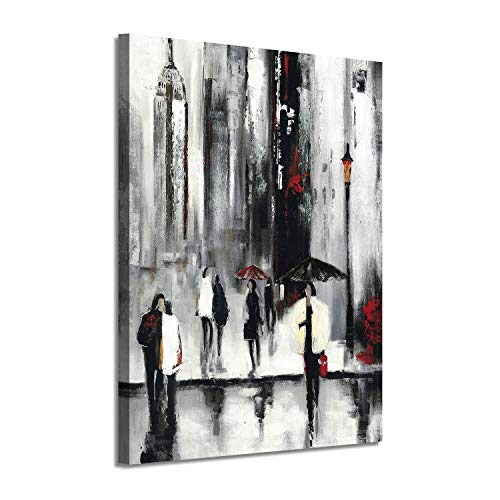 - Cityscape Picture Abstract Wall Art: NYC Street Rainy Days Painting on Canvas for Office (16