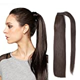 18' Straight Wrap Around Ponytail Human Hair Extensions for Women 70gram Dark Brown 2#