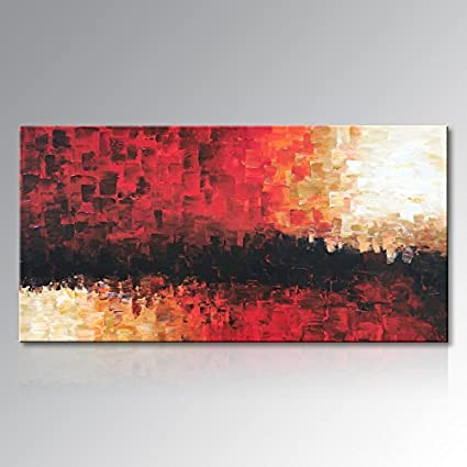 Everfun Abstract Oil Painting Hand Painted Palette Knife Modern Wall Decor Red Black Canvas Art Texture Artwork Home Decor Framed Ready To Hang