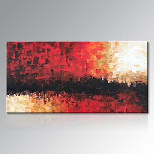 Everfun Extra Large Oil Painting Red Abstract Handmade Huge Canvas Art Wall Decor Modern Decorations for Living Room Office Artwork with Frame Ready to Hang (60''Wx30''H) by EVERFUN ART