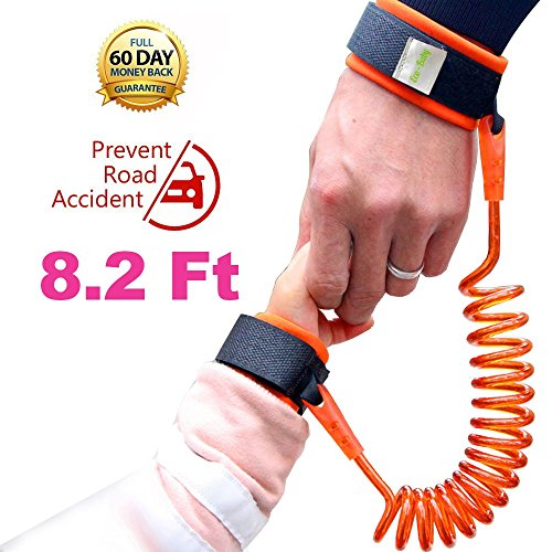 Anti Lost Wrist Link Safety Wristband for Toddlers, Babies Harnesses and Straps Walking Hand Straps (Orange) (Child Leash Wrist)