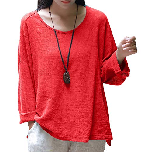 Soojun Women's Casual Loose Long Sleeve Round Collar Cotton Linen Shirt Blouse Tops, Color Red, ()