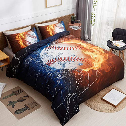 (LAMEJOR Duvet Cover Set Queen Size 3D Ice and Fire Baseball Pattern Sports Theme Bedding Set Comforter Cover(1 Duvet Cover+2 Pillowcases))