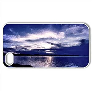 Blue Evening - Case Cover for iPhone 4 and 4s (Lakes Series, Watercolor style, White)