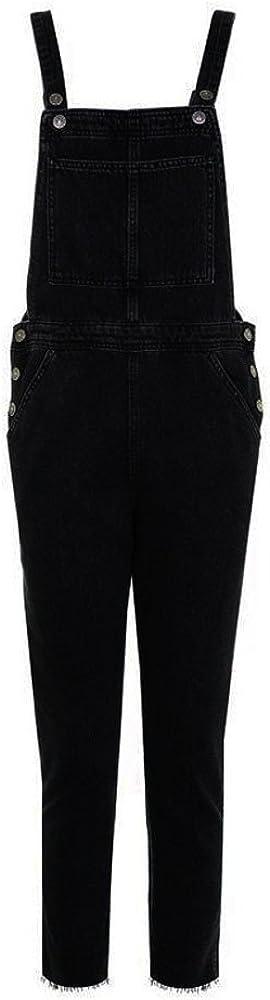Petos de Pantalones Largos Casual Playa Fiesta Noche C/óctel para Mujer STRIR Mono Mujeres Jeans Rectos Bolsillos Tipo Peto Pantalones de Cintura pantal/ón Vaquero