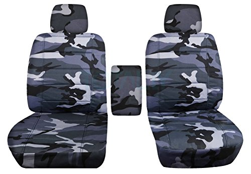 2009-2014 Ford F-150 Camo Truck Bucket Seat Covers with Center Armrest: Gray Camouflage (16 Prints) 2010 2011 2012 2013 F-Series F150 Front by Designcovers