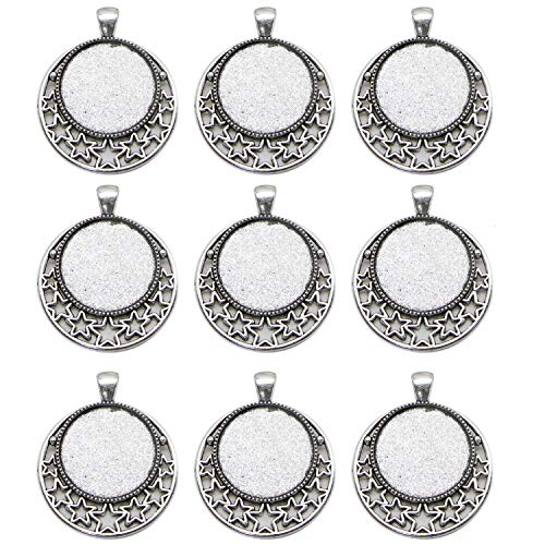 (JETEHO Pack of 20 Round Picture Frame Charm Blank Bezel Pendants Trays Base 25mm Jewelry Making DIY Findings)