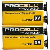 【DURACELL】PROCELL デュラセル プロセル 9V角電池 エフェクター/楽器用アルカリ電池 2個セット DP-9V-2pcs