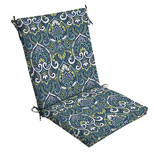 Arden Selections Sapphire Aurora Damask Outdoor Dining Chair Cushion (Arden Cushions Outdoor)