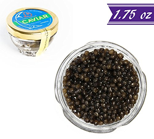 Kaluga Sturgeon Amber Caviar, Huso Dauricus, River Beluga, 1.75 oz / 50 gm Jar plus Mother of Pearl Caviar Spoon, Royal Gourmet Imperial Kaluga Caviar, Light-Salted, Farm Raised, OVERNIGHT (Caspian Imperial Osetra Caviar)