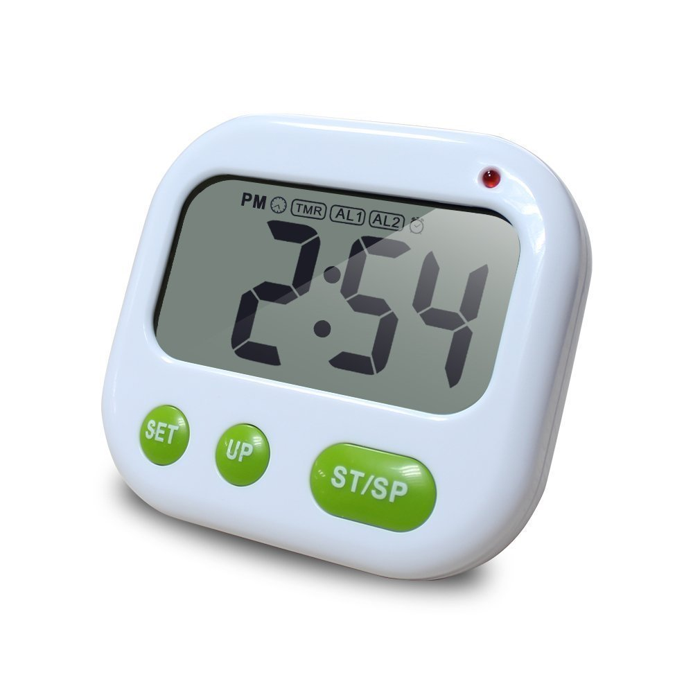 LRZCGB Digital Kitchen Timer with Clip Multi-Function Electronic Timer Silent Vibration Alarm Students Luminous Clock (Green)