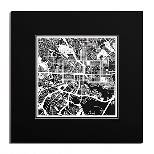 O3 Design Studio Baltimore Paper Cut Map Matted Black 20x20 inches Paper - In National The Maryland Harbor