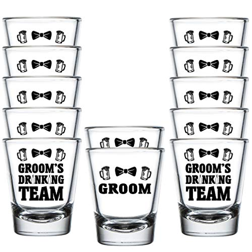 (Shop4Ever Groom and Groom's Drinking Team Bow Tie Shot Glasses ~ Bachelor Party Favors ~ (12 Pack, DT Bow Tie))