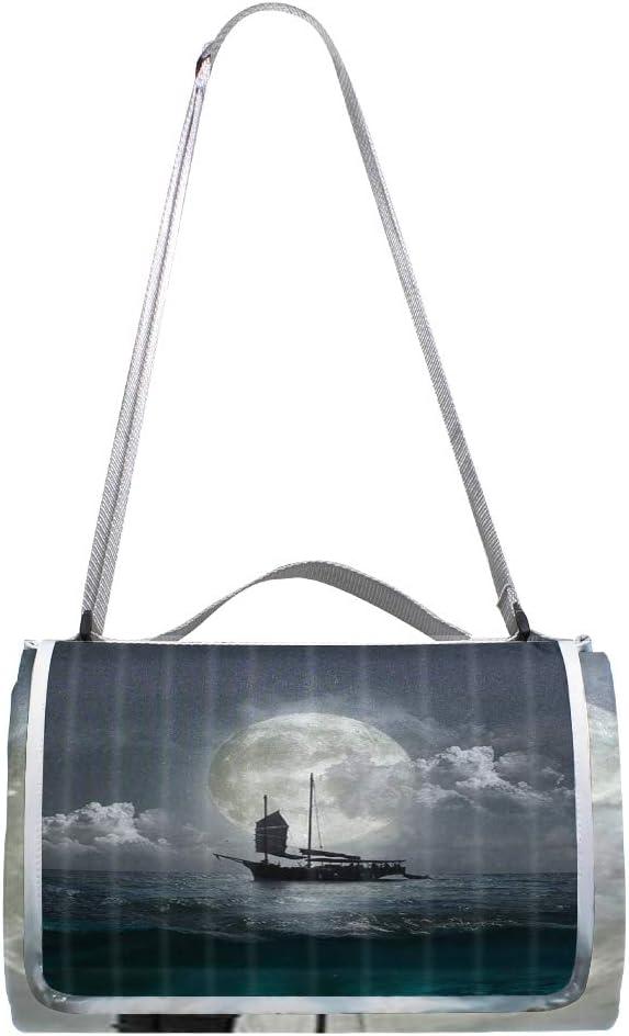 XINGAKA Coperta da Picnic Tappetino Campeggio,Ocean Yacht Sea Blue Green,Giardino Spiaggia Impermeabile Anti Sabbia 9