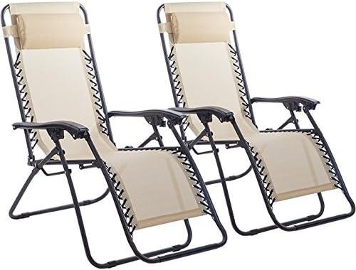 Zero Gravity Chairs Case of 2 Black Lounge Patio Chairs Outdoor Yard Beach