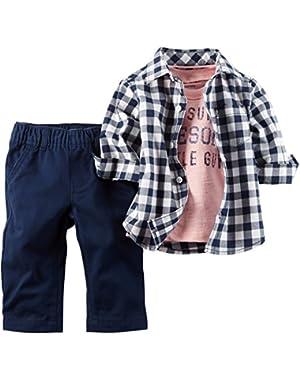 Carter's 3 Piece Check Shirt Set, Navy