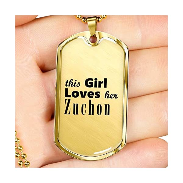 Zuchon - 18k Gold Finished Luxury Dog Tag Necklace Lover Owner Mom Birthday Gifts Jewelry 3