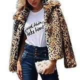 Shilanmei Womens Leopard Faux Fur Coat Vintage Warm Long Sleeve Parka Jacket Outwear (Tag L = US 8/10)