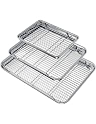 Wildone Baking Sheet with Rack Set (3 Pans + 3 Racks), Stainless Steel Baking Pan Cookie Sheet with Cooling Rack, Non Toxic & Heavy Duty & Easy Clean