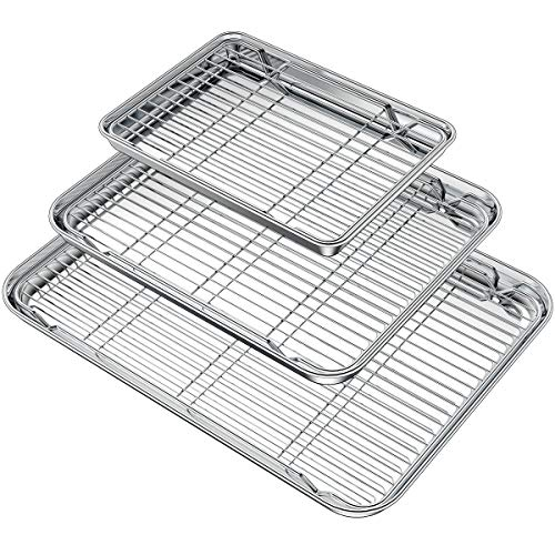 Wildone Baking Sheet with Rack Set (3 Pans + 3 Racks), Stainless Steel Baking Pan Cookie Sheet with Cooling Rack, Non…