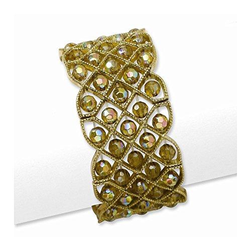 (Brass-tone Olive Acrylic Beads Stretch Bracelet )