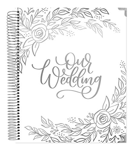 "bloom daily planners Wedding Planner & Organizer/Hardcover Keepsake Journal with Essential Planning Tools - Checklists, Vision Boards, Tips & More - 9""x11"" - Silver Floral (Undated)"