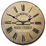 Cooking is Love Wall Clock 2, Available in 8 sizes, Most Sizes Ship 2 - 3 days, Whisper Quiet.