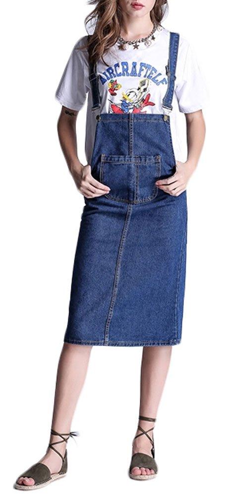 Plaid&Plain Women's Casual Slim A Line Short Suspender Denim Midi Skirt Bib Overall Dress Blue 2# 4