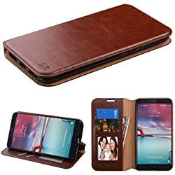 ZTE Zmax Pro Case (MetroPCS/T-Mobile), Zmax Pro Case, ZTE Grand X Max 2 Case, BornTech PU Leather Fold stand Wallet pouch with Credit Card Slots Phone Cover Case (Brown)