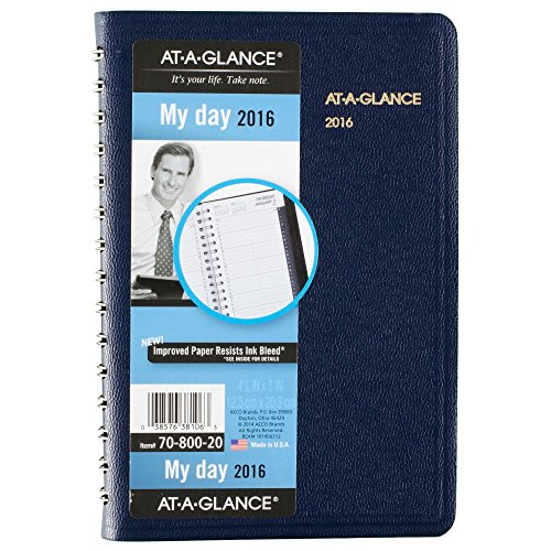 AT-A-GLANCE Daily Appointment Book / Planner 2016, 12 Months, 4.88 x 8 Inch Page Size, Navy (7080020)