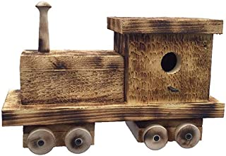 product image for Furniture Barn USA Train Engine Bird House with Twisted Rope Hanger & Clean Out in Burnt Pine