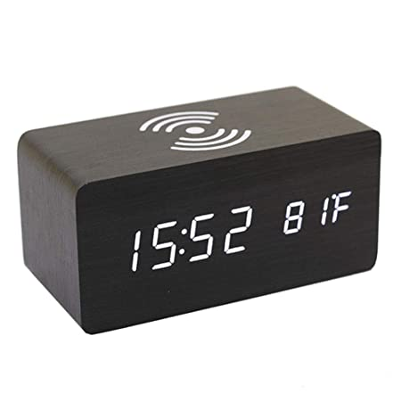 Adminitto88 - Reloj despertador digital de madera con termómetro ...