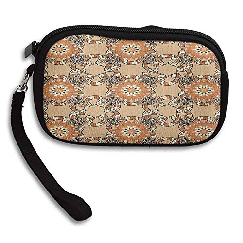 Tan and Brown Zipper Small Purse Wallets Henna Art Style Mandala Flowers with Wavy and Striped Petals Mosaic Tile W 5.9