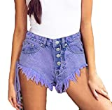 ainr Women Lace-up Denim Jean Distressed Stretchy Sexy Hot Pants 1 XS