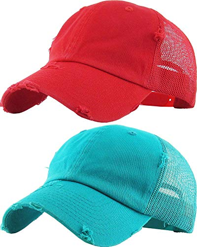 Crown Trucker Hat - H-6140-2-K4246 Trucker Hat 2-Pack: Red & Teal DISTRESSED