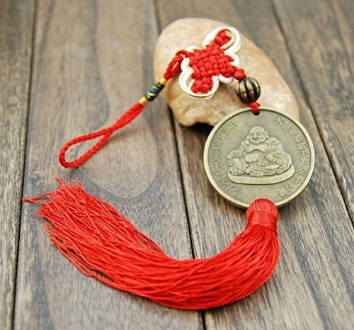Laughing Buddha Chinese Feng Shui Happy Buddha Coin with Chinese knot Red Tassels for Happiness Money and Wealth by Novelty House ()