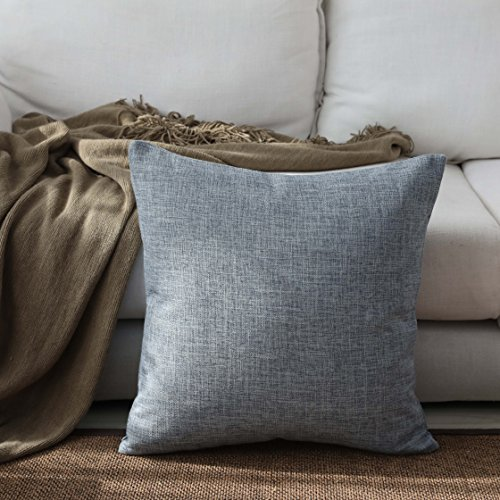 Kevin Textile Decoration Faux Linen Lined Thick Throw Pillow Cases Sham Cushion Cover for Bed/Sofa, 18x18-inches(1 Piece, Denim Blue)
