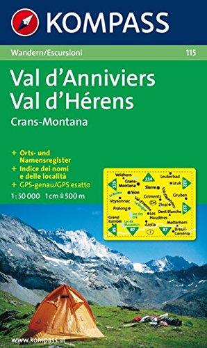 Val d'Anniviers, Montana, Val d'Hérens 1 : 50 000: Wanderkarte. GPS-genau