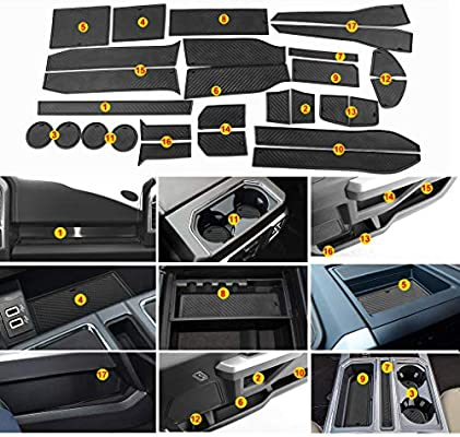 Carbon Fiber Pattern - White Door and Center Console Liner Accessories for Ford F-150 2017 2018 2019 2020 28-pc Set JIECHEN Custom Fit Cup Holder