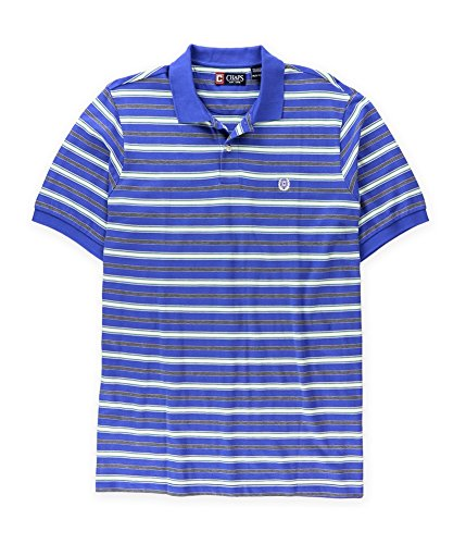 - Chaps Mens Striped Pique Rugby Polo Shirt, Blue, LT
