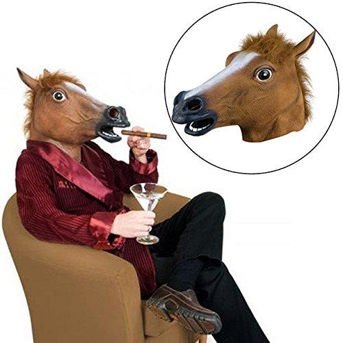 Focuslife Cosplay Halloween Horse Head Mask Latex Animal