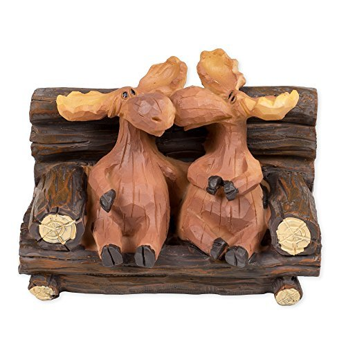 Kissing Moose On Bench 5 x 3 x 3 Inch Resin Crafted Tabletop Figurine (Moose Wicker Head)