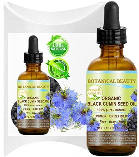 ORGANIC BLACK CUMIN SEED OIL - Nigella sativa. 100% Pure / Natural / Virgin / Undiluted. For Skin, Hair, Lip and Nail Care .2 Fl.oz.- 60 ml