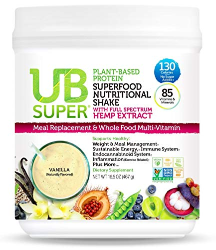 UB Super - Full Spectrum Hemp Extract - Meal Replacement - Protein Superfood Nutritional Shake - Vegan, Gluten Free, Non GMO, No Added Sugar, Nutrient Rich - Dietary Supplement (Vanilla)