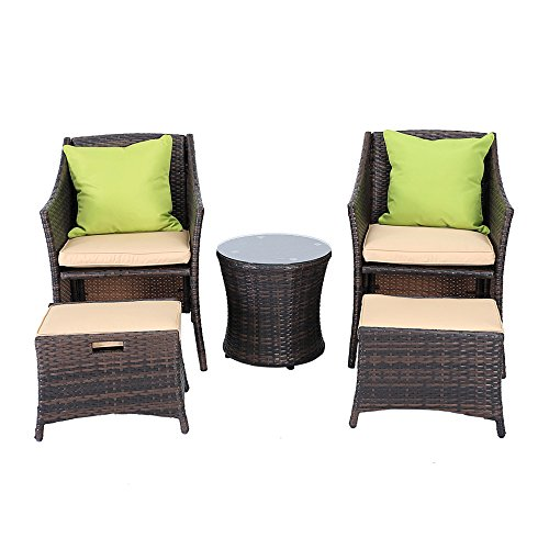5 Piece Wicker Patio Furniture Rattan Dining Set Home Garden Sofa Seat with cushion (Nook Breakfast Couch)