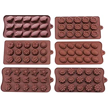 Bekith 6 Pack Non-stick Silicone Candy Molds - Silicone Molds for Chocolate Jelly Candy Cake DIY - Chocolate Molds Silicone Molds Hard Candy Mold Fat Bomb ...