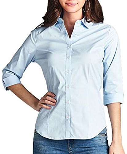 FISOUL Women's Basic Long Sleeve Button Down Shirts Cotton Simple Formal Casual Shirt Blouse (Light Blue M)