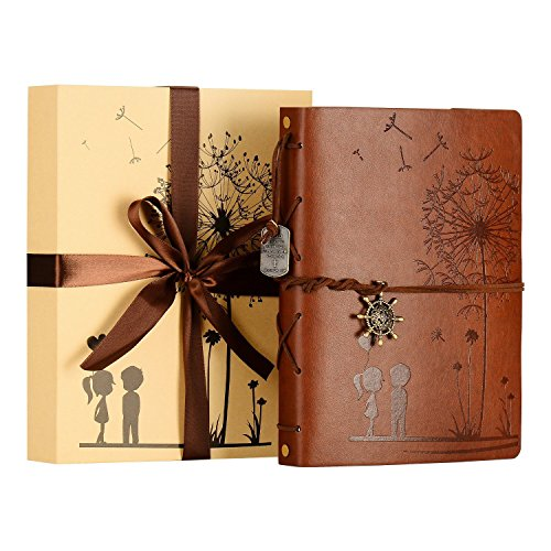 (ZEEYUAN Scrapbook Album, Dandelion Photo Album Family Leather Scrapbook Special DIY Memory Book for Christmas Valentines Birthday Anniversary,Come with Gift Box (Brown))