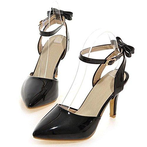 Zapatos Correas Tacones Arco TAOFFEN Mujer Bombas Negro qgaZIgw