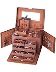 Premium Large PU Leather Jewelry Box Bracelet Ring Necklace Watches Storage Organizer with Mirror Travel Case 245